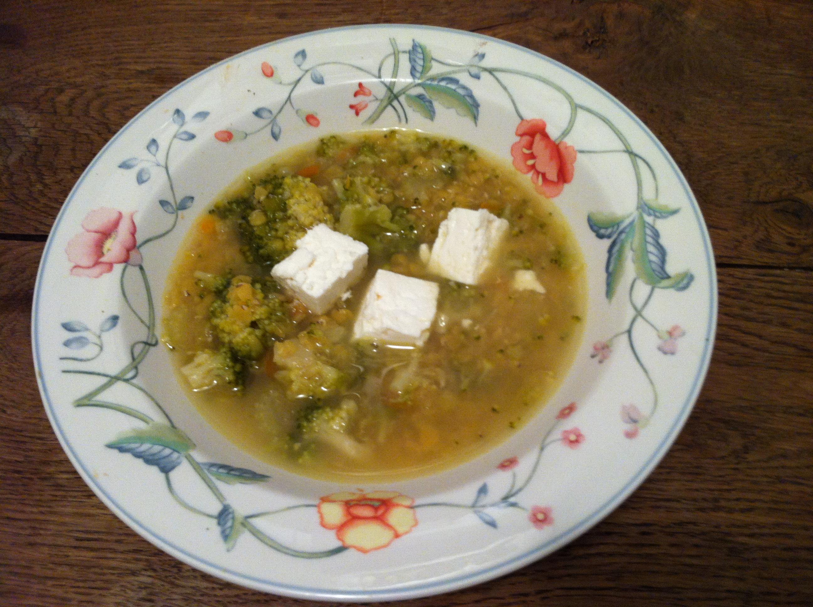 Soupe De Lentilles Corail Brocoli Et Feta Envie De Cuisiner