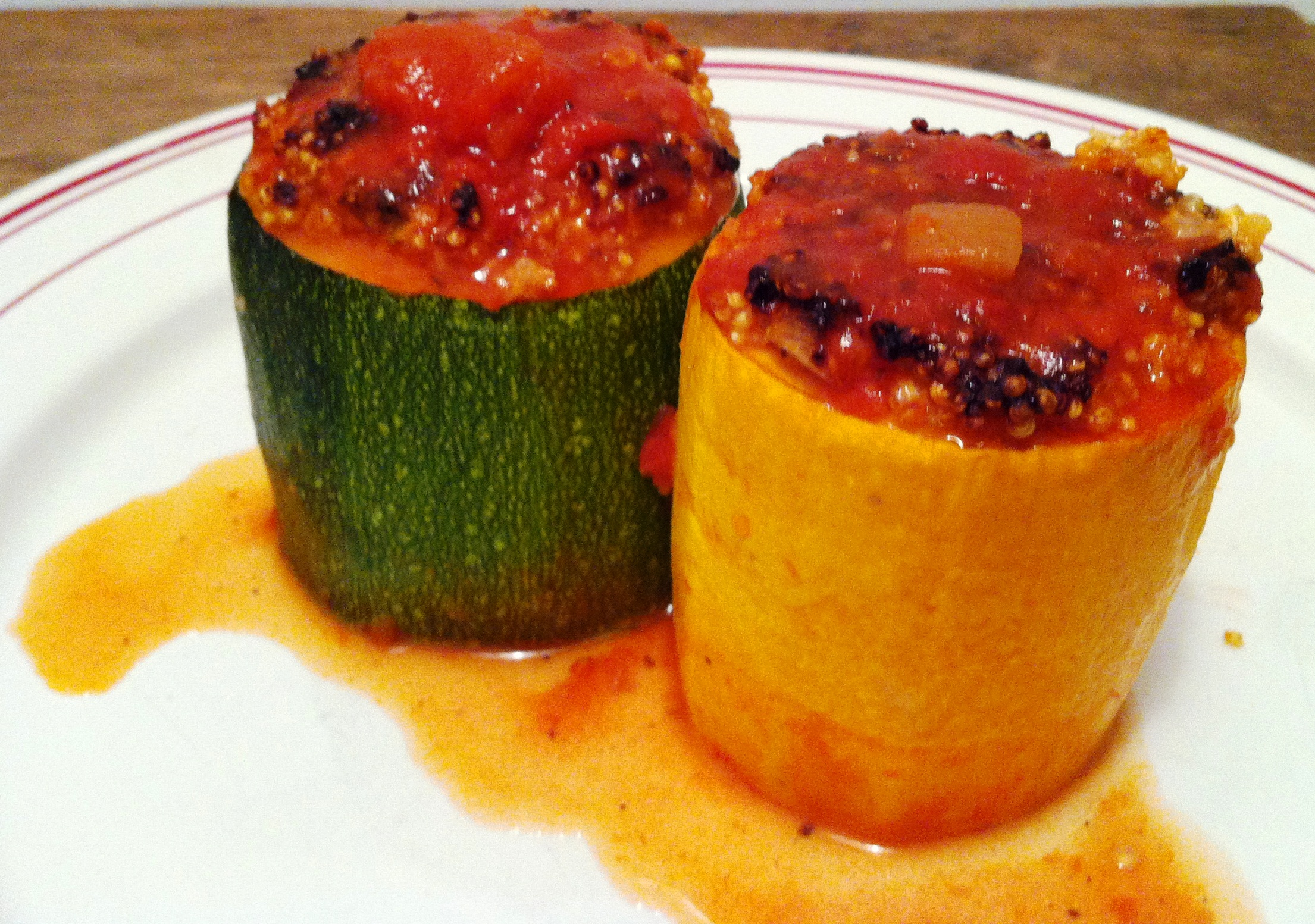 Courgettes rondes farcies au quinoa et f ta envie de - Cuisiner courgettes rondes ...